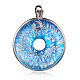 Ручной серебряная фольга стеклянные большие кулоны, пончик / пи-диск, латунная фурнитура с платиновым покрытием, светло-голубые, 57~61x44~46x10 мм, отверстие : 5~7x4~5 мм