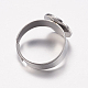 Adjustable 304 Stainless Steel Finger Rings Components STAS-F149-20P-3