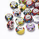 Resin European Beads, Large Hole Beads, with Silver Color Plated Brass Cores, Rondelle, Mixed Color, 14~14.5x8.5~9mm, Hole: 5mm