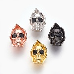 Brass Micro Pave Cubic Zirconia Beads, Lead Free & Cadmium Free & Nickel Free, Long-Lasting Plated, Skull, Black, Mixed Color, 14x10x9mm, Hole: 1.8mm