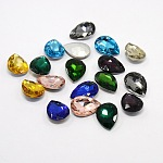 Glass Pointed Back Rhinestone, Back Plated, Faceted, Teardrop, Mixed Color, 18x13x6mm