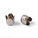 Gorras de cuentas de flor de hierro de oro blanco, 6.5x7mm, agujero: 1 mm