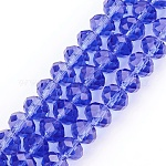 Handmade Glass Beads, Faceted Rondelle, MediumBlue, 8x6mm, Hole: 1mm; about 68~70pcs/strand