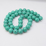 Synthetic Turquoise Beads Strands, Dyed, Round, DarkTurquoise, 10mm, Hole: 1mm; about 40pcs/strand, 15.7