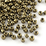 8/0 Glass Seed Beads, Iris Round, CoconutBrown, 3mm, Hole: 1mm; about 10000pcs/pound