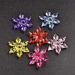 Transparent Acrylic Beads, Faceted, Snowflake, Christmas, Mixed Color, 45x12mm, Hole: 3mm; about 105pcs/500g