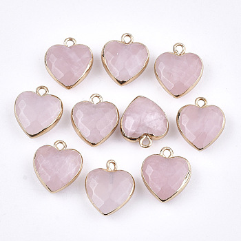 Electroplate Natural Rose Quartz Pendants, with Cadmium Free & Nickel Free & Lead Free Iron Findings, Faceted, Heart, Golden, 16~17x14~15x6~7mm, Hole: 1.8mm