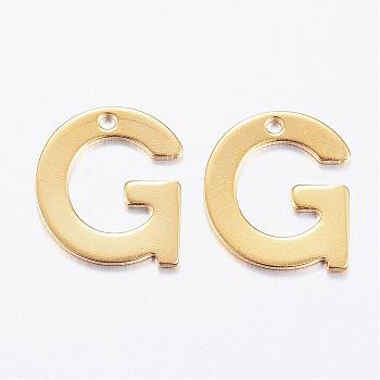 304 Stainless Steel Charms, Letter, Initial Charms, Letter.G, 11x6~12x0.8mm, Hole: 1mm