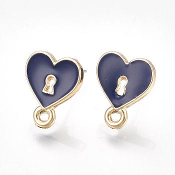 Fornituras de aretes de aleación, con pasadores no chapados, esmalte y lazo, cerradura del corazón, la luz de oro, azul medianoche, 13x10.5mm, agujero: 1.5 mm; pin: 0.7 mm
