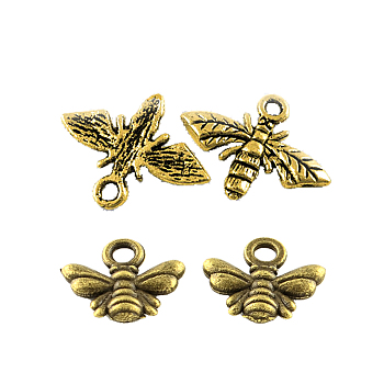 Tibetan Style Alloy Pendants Sets, Bee, Mixed Color, 9.5~13.5x11~17.5mm, Hole: 1.5~2mm