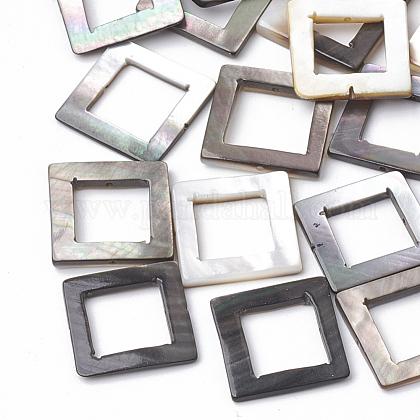 Marcos de cuentas de concha de labio negro naturalX-SSHEL-N020-011A-1