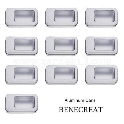 Benecreat 10 упаковка прямоугольные металлические жестяные контейнеры для хранения пустая металлическая жестяная коробка с прозрачной крышкой окна для ювелирных изделийCON-BC0005-24-1
