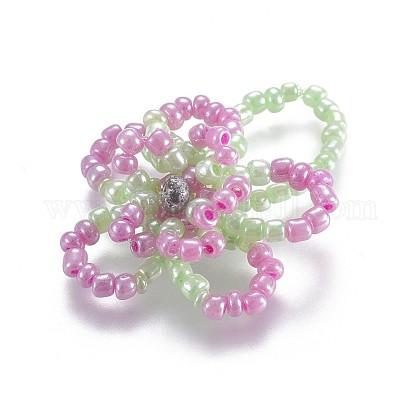 Semilla de vidrio con cuentas anillos elásticosRJEW-JR00252-04-1