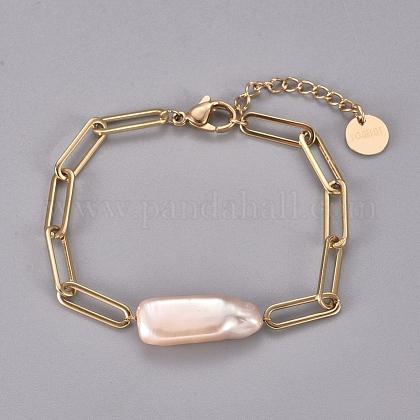 304 pulseras de eslabones de cadenas de clip de acero inoxidableSTAS-D232-08G-1