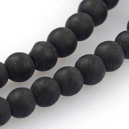 Perles en verre dépolies rondesGLAA-J064-4mm-02-1