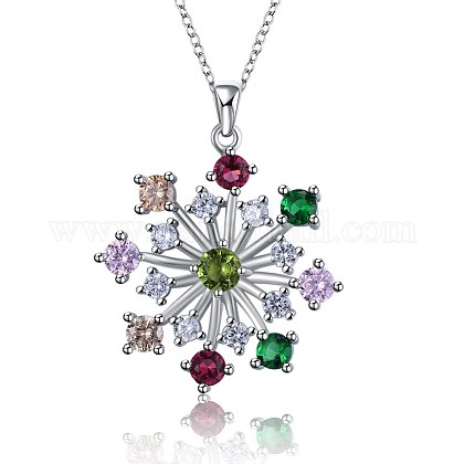 925 Sterling Silver Micro Pave Cubic Zirconia Pendant Necklaces BB34073-1