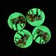 Cabuchones espalda plana de cristal luminosa cúpula / medio caña del patrón de elefante para proyectos de diyGGLA-L010-14mm-K04-1