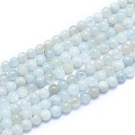 Natural Aquamarine Beads Strands, Round, 4~5mm, Hole: 0.7mm, about 86pcs/Strand, 15.55 inches(39.5cm)