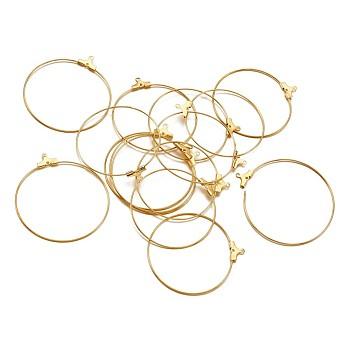 Colgantes de latón, fornituras del pendiente del aro, dorado, 40mm, agujero: 1 mm