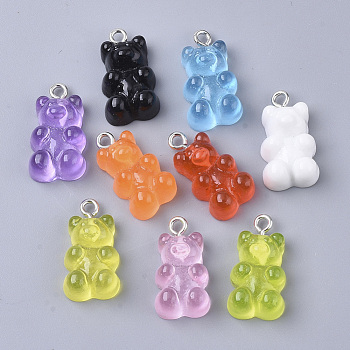 Resin Pendants, with Platinum Tone Iron Loop, Imitation Food, Bear, Mixed Color, 20.5~22.5x11.5x7mm, Hole: 2mm