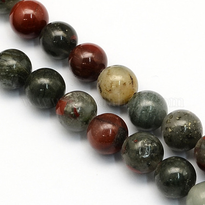 Naturales africanos abalorios bloodstone hebras G-S184-12mm-1
