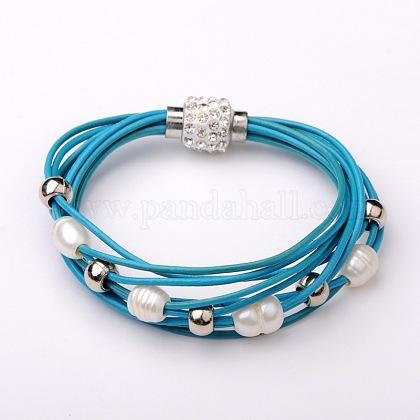 Trendy Cowhide Leather Cord Multi-strand BraceletsBJEW-JB01578-01-1