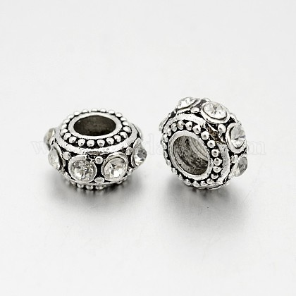Antique Silver Plated Alloy Rhinestone BeadsRB-J503-01AS-1