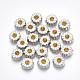 Сплав эмали кабошоны, со стразами, маргаритка, топаз, кремово-белые, платина, 6.5x7x2.5 мм