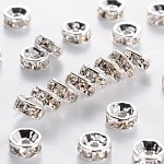 Brass Grade A Rhinestone Spacer Beads, Silver Color Plated, Nickel Free, Crystal, 6x3mm, Hole: 1mm