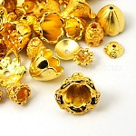 Tibetan Style Alloy Bead Caps, Mixed Shapes, Golden, 5~20x2~10mm, Hole: 0.5mm