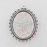 Tibetan Style Antique Silver Alloy Flat Oval Pendant Cabochon Settings, Tray: 40x30mm; 55x40x2mm, Hole: 2mm
