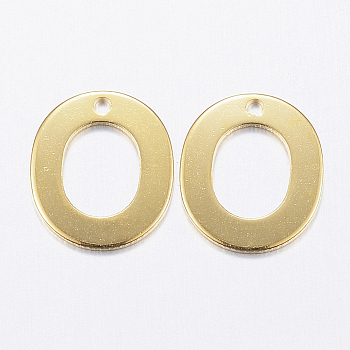 Encantos de 304 acero inoxidable, letter.o, dorado, 11x10x0.8mm, agujero: 1 mm
