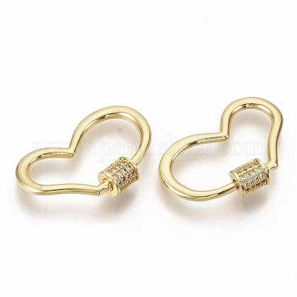Brass Micro Pave Clear Cubic Zirconia Screw Carabiner Lock CharmsZIRC-S066-007-1
