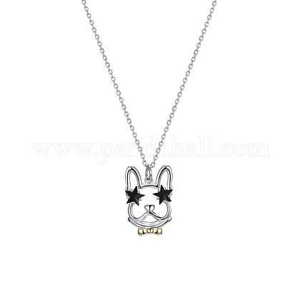 925 Sterling Silver Puppy Pendant NecklacesSWARJ-BB34863-1