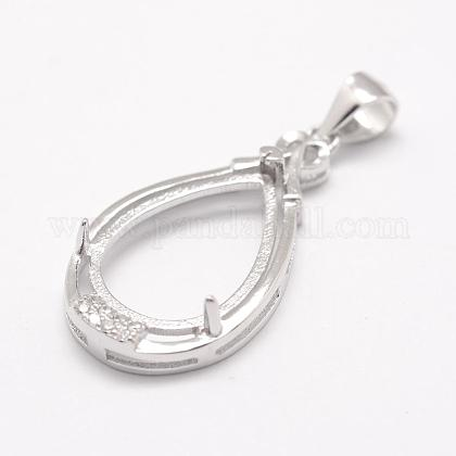925 Sterling Silver Pendant Claw Cabochon Settings STER-K034-13-1