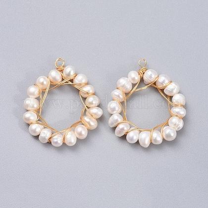 Colgantes naturales de perlas cultivadas de agua dulcePALLOY-JF00381-1
