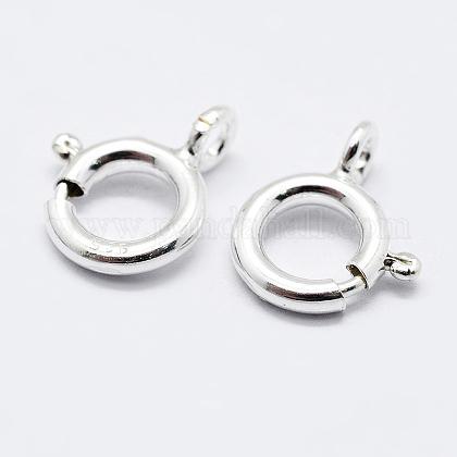925 cierres de anillo de resorte de plata de leyX-STER-K167-076B-S-1