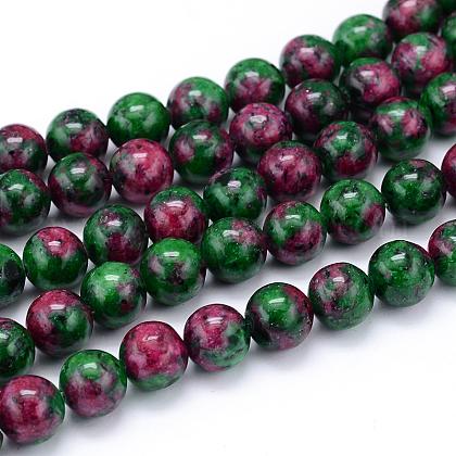 Rubí sintético en hilos de perlas de zoisitaX-G-F216-10mm-26-1-1