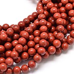 Grade A Natural Red Jasper Bead Strands, 6mm, Hole: 1mm; about 62pcs/strand, 15.5