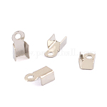 Iron Cord Ends, Platinum, 6x3mm, Hole: 1mm