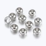 Perles européennes en laiton or blanc, perles de rondelle avec grand trou , 7x5mm, Trou: 4mm