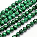 Chapelets de perles en malachite naturelle, ronde, 8mm, trou: 1mm; environ 47 pcs/chapelet, 15.5