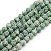 Tache verte naturelle givrée jasper brins de perles rondes, 6mm, trou: 1mm; environ 63~65 pcs/chapelet, 14.9~15.6