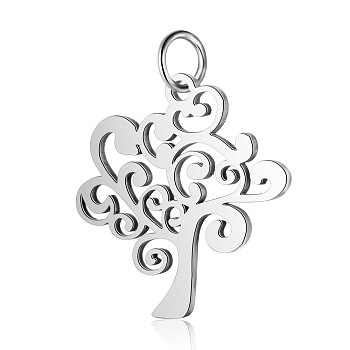 304 Stainless Steel Pendants, Tree of Life, Stainless Steel Color, 20.5x20x1mm, Hole: 2.5mm