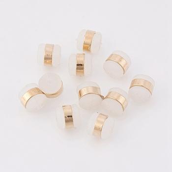 Tuercas de goma de latón, pendiente trasero, sin níquel, real 18k chapado en oro, 5.5x5.5mm, agujero: 0.5 mm