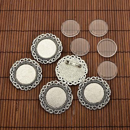 25 mm cabochons de verre transparent et les supports broche rond et plat de style tibétainDIY-X0188-AS-NR-1
