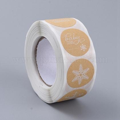 Etiqueta engomada del rollo de navidad de los copos de nieveDIY-G025-G01-1
