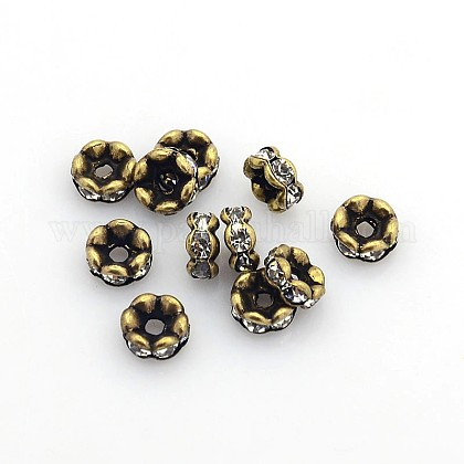 Brass Rhinestone Spacer Beads RB-PH0006-01AB-NF-1