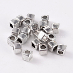 Cube Tibetan Style Alloy Spacer Beads, Lead Free & Nickel Free & Cadmium Free, Antique Silver, about 6.5mm wide, 6.5mm long, Hole: 3.5mm