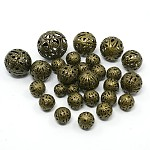 Mixed Iron Filigree Hollow Round Beads, Nickel Free, Antique Bronze, 6~16mm, Hole: 1mm; about 170pcs/100g